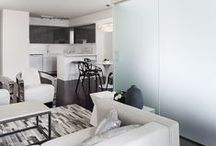 ST LAWRENCE / Looking to showcase the tremendous untapped value in Toronto's older condominiums, Rad Design Inc redefined a drab and dated 600 sf unit into a contemporary living environment.  The challenge was to achieve a fresh, modern look, with the lowest possible budget, to highlight spaces with similar potential to future investors and owners. The condo was initially gutted completely and now features newly updated floors and wall surfaces as well as a renovated kitchen, bathroom and bedroom.