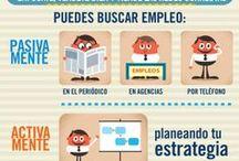 Infografies / Conjunt d'infografies relacionades amb la cerca de feina (ocupació, currículum, entrevista de feina, xarxes socials, etc.)