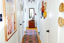 Hallways & Entryways / Your entryway is the first impression you have when coming home and receiving guests.  It sets the tone for the rest of your home.  Hallways connect the spaces within your home and can offer unexpected opportunities for expressing your style.  Rugs.  Mirrors.  Art.  Command station.  Mudrooms.  Shelves.  Tables.  Shoe bins.  Mail bins.  Coat rooms.  Coat closets.