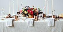 Table Settings / Tablecloths, napkins, plates, glasses, serving dishes, florals, centerpieces, flatware, etc.