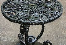 (industrial) metal/steel decorations and accessories / tables, chairs, braclets, lamps made out of (old)metal objects