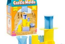 Castle Molds - Create Castles From Sand, Dough + Compound / Create a detailed castle-or any other structure or model-out of your favorite sand, dough or modeling compound with these molds! Build towers, stairs and stone walls. The set includes 8 plastic pieces including two sculpting knives, a square extruder, a round extruder, stair maker, stone wall maker and more. The castle molds are made out of sturdy ABS plastic and will stand up to years of play.
