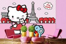 Hello Kitty Fotomurales Decorativos Tienda Papel Pintado Barcelona / Amplia colección de fotomurales de pared de la Hello Kitty, varios tamaños disponibles, decora con la Hello Kitty.  Más información en http://papelpintadobarcelona.com/2015/03/09/fotomurales-hello-kitty/