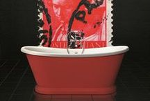 Red Bathroom Ideas / Love the colour red? Try a few of the design ideas here