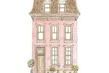 House illustrations / I love a whimsical house illustrations and adorable interior sketches and watercolor paintings! So fun to imagine who lives in each. Enjoy!