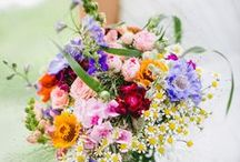 Wedding bouquet / colorful, bright, wildflowers and garden flowers