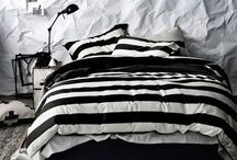 Home Style: Bedroom / Mostly black and white. Stripes. Goth goodness.