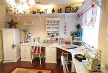 Craft room, sewing room, Scrapbook room / Craft room inspiration, organization and storage ideas