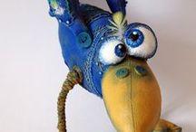Ptaki z filcu i materiału/ Felt birds