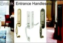 Door Hardware and Handlesets / Emtek and Schlage door handles. We has entry handlesets to match all the front entry doors. All handlesets come in choices of finishes. We have bronze, brass and wrought iron base metals and different finishes. Electronic deadbolts and regular deadbolts.