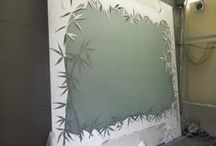 Other Etched Glass Projects / Etched glass for interior application in the home. Frosted and shaded glass designs. Custom designs.