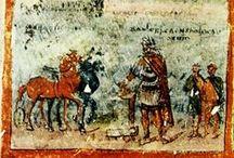 Enluminure paléochrétienne (I°-début VII°s) / CODEX: cahier de pages manuscrites reliées. Ancêtre du livre moderne inventé à Rome durant le II°s av J-C, s'est répandu à partir du I°s pour remplacer le rouleau à papyrus. ENLUMINURE: peinture ou dessin exécutés à la main que décore ou illustre un texte, généralement un manuscrit.