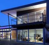 eco houses / contemporary + sustainable eco houses boasting passive solar design with power and water self-sufficiency.