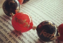 My project- hand painted beads / Handmade Beads (beaded clay, hand painted)