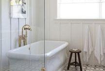 bathrooms / white bathroom, neutral bathroom, farmhouse bathroom