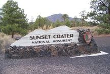 Sunset Crater Volcano National Monument, Arizona / Sunset Crater Volcano! Roughly 900 years ago, the eruption of this volcano reshaped the surrounding landscape, forever changing the lives of people, plants and animals. Hike the trail through the lava flow and cinders and you'll likely discover colorful, ruggedly dramatic geological features coexisting with twisted Ponderosa Pines and an amazing array of wildlife.