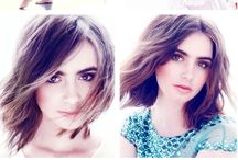 Lily Collins / Black and white dress