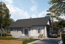 Projekt domu SD1 / Dom jednorodzinny, parterowy z wiatą garażową. Wnętrze budynku zostało wyraźnie podzielone na strefę dzienną z dużym salonem i otwartą kuchnią oraz na część intymną – nocną z dwoma sypialniami. W centralnej części kondygnacji umieszczono ogólnodostępną łazienkę. Do domu prowadzi przestronny wiatrołap, gdzie znajdzie się miejsce na szafę wnękową, a zlokalizowana obok kotłownia może pełnić także rolę pomieszczenia gospodarczego. http://stalowedomy.pl/sd1/