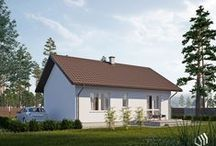Projekt domu SD4 / Dom jednorodzinny, parterowy. Wnętrze budynku zostało wyraźnie podzielone na strefę dzienną z dużym salonem i otwartą kuchnią oraz na część intymną – nocną z dwoma sypialniami. W centralnej części kondygnacji umieszczono ogólnodostępną łazienkę. Do domu prowadzi przestronny wiatrołap, gdzie znajdzie się miejsce na szafę wnękową, a zlokalizowana obok kotłownia może pełnić także rolę pomieszczenia gospodarczego. http://stalowedomy.pl/sd4/