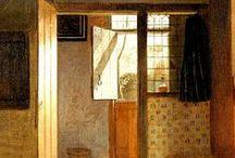 jan vermeer (1632-1675) & Pieter de Hooch (1629 – 1684) /  jan vermeer van delft/// Pieter de Hooch was a genre painter during the Dutch Golden Age. HA contemporary & archrival of Dutch Master Jan Vermeer, with whom his work shared themes and style.