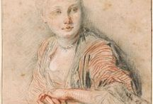 antoine watteau (1684 – 1721) & francois boucher (1703-1770) drawings / Jean-Antoine Watteau ( Oct 10, 1684 – July 18, 1721) French painter whose brief career spurred revival of interest in color & movement (in the tradition of Correggio & Rubens). He revitalized the Baroque style, & moved it to the less severe, more naturalistic,Rococo.He is credited with inventing the genre of fêtes galantes: scenes of bucolic & idyllic charm, suffused with an air of theatricality. Some of his best known subjects were drawn from  Italian comedy & ballet.