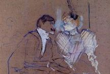 toulouse-lautrec  (1864 – 1901) / Henri Marie Raymond de Toulouse-Lautrec-Monfa a French painter, printmaker, draughtsman, & illustrator, whose immersion in the colourful & theatrical life of Paris in the late 1800s yielded a collection of exciting, elegant & provocative images of the modern & sometimes decadent life of those times.
