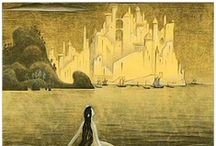 """j.r.r tolkien (1892 – 1973) - kay nielsen  (1886 – 1957) / John Ronald Reuel Tolkien, (1892 – 1973) English writer, poet, philologist, & university professor. Known as author of classic high fantasy works The Hobbit, The Lord of the Rings, & The Silmarillion. /// Danish illustrator, popular in early 20th century, the """"golden age of illustration"""". Nielsen did collaborate with Disney in many story sketches & illustrations."""