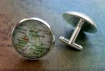 Gifts for Him / sports teams, college and map cufflinks