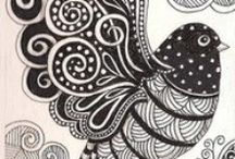Zentangle - animals / drawing - art - zen dangle - doodle - horse - bird - owl - insect - butterfly - dragonfly - fish      / by Annie