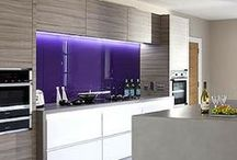 Purple & Pink Glass Splashbacks / Purple & Pink Glass Splashbacks showing a variety of kitchen styles and designs to inspire your future kitchen project. To obtain a quote visit http://www.diysplashbacks.co.uk/glass-splashbacks/diyquote.aspx