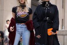 °·Rock it·° / The rocker style is very versatile. But whether you're sporting a Ramones t-shirt or a Metallica sweatshirt, there are a few things in common: ripped denim, boots, leather jackets and pants, and studs.