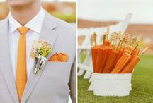 | Orange Wedding Ideas | / Ideas and inspiration on ways to incorporate shades of orange like pumpkin, peach, tangerine, blood orange and bronze into your wedding day color palate.