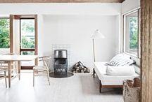 white and wood interiors