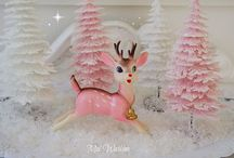 Romantic Pink Christmas / Vintage Christmas Decor mostly in Pink because it's beautiful but also some Silvers & Blues for a Vintage Beachy Christmas / by Nancy Thomas