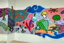 mural at Bunda Mulya International school Jakarta / melukis dinding di Bunda Mulya International school Jakarta