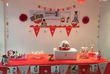 Birthday Party kinder surprise theme / My son loves kinder surprise so i kept this theme for his 3rd birthday . I created customised toppers and garland. I photoshopped his pictures and used it in the garlands and toppers. The idea was to keep the decor in red and white. The cake was also the highlight of the party. My son was on the 7th sky at his birthday.