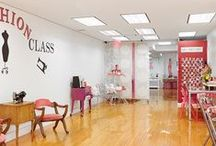 Our Garment Center Studio / Located on West 39th Street, the fringe of the garment center in NYC, The Fashion Class' HQ is a fantastic, bright, child friendly, 2500 sq ft space.