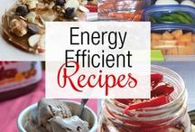 """""""Energy Efficient Recipes!"""" Eating Can Be Energy Efficient too! / With Americans looking to reduce their """"carbon footprints,"""" food seems an obvious place to start. Choosing a diet with a smaller carbon footprint means choosing foods that are processed in ways that emit less carbon dioxide — a heat-trapping """"greenhouse"""" gas — into the atmosphere."""