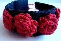 Biżuteria z tkanin/fabric jewellery / Biżuteria wykonana z resztek tkanin - głównie moje ulubione róże