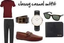 the casual wardrobe (Outfit two) / his wardrobe have casual look for the weekend. (OUTFIT TWO)