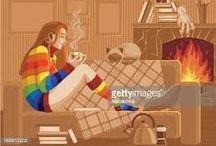 Girl + Book + Coffee / Ilustrações e fotografias de garotas com livros, café, gatos, janelas etc...