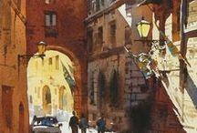 pintur / croquis urbain et aquarelle, parfois les deux, en vrac.