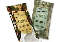 Hoo-Ahhs - Field Towels / Originally developed for military personnel to remove camouflage paint after training exercises, Hoo-Ahhs™ Field Towels are strong, unscented, aloe-based moistened towels that clean up the toughest dirt and grime without breaking apart like paper based towelettes. Convenient, portable and disposable, Hoo-Ahhs™ are ideal for hunting, camping, fishing and all outdoor activities. WEBSITE - WWW.HOOAHHS.COM - Customer Service and Orders 800-663-7487