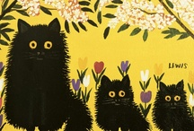 les chats noirs / black cats & kittens -- art, illustrations, paintings, photos, etc...  / by dachweiler