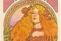Liberty - art nouveau / Opere pittoriche, architettoniche, poster, motivi floreali nonché mobili dell'arte nuova