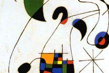 """Joan Miró 1893-1983) / Sperimentazione di forme e colori, di stili, di grafica, di supporti, per """"uccidere o assassinare"""" -sono parole sue- la pittura convenzionale.   """"Un innocente col sorriso sulle labbra che passeggia nel giardino dei suoi sogni"""" lo definì Prévert."""