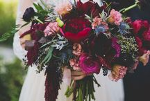 Michelle + Brandon / Industrial modern with a heavy emphasis on copper + greenery. Floral color palette of green, cream, taupey-blush, burgundy-purple, and blue.