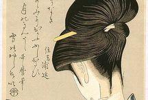 Kitagawa Utamaro (1750-1806) / I ritratti di donne di Utamaro.   È conosciuto principalmente per i suoi  studi di donne, magistralmente composti, chiamati bijin-ga. Compì anche degli studi su soggetti naturali, in particolare libri illustrati sugli insetti.  Le sue opere vennero diffuse in Europa verso la metà del XIX secolo, dove divenne molto famoso, in particolare in Francia. Influenzò così gli impressionisti europei, soprattutto per il suo uso di scorci, con una certa enfasi su luci e ombre.