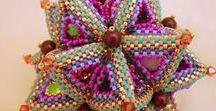 Beaded decoratons / Items made of seed beads,  Beaded box, Beaded stars