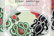Rebar earrings / earrings designed and made by me, handmade soutache and beading earrings, Ręcznie wykonane kolczyki mojego autorstwa, kolczyki sutasz